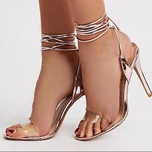 Qpid metallic mauve lace up heels